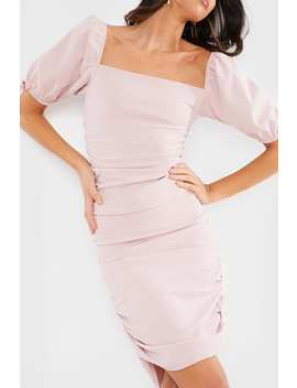 Blush Puff Sleeve Ruched Mini Dress by In The Style