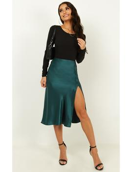 No More Fears Skirt In Emerald Satin by Showpo Fashion