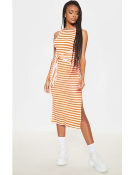 Orange Stripe Sleeveless Tie Waist Midi Dress by Prettylittlething