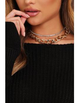Gold Diamante Double Chain Necklace by I Saw It First