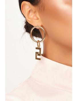 Gold Aztec Drop Hoop Earrings by I Saw It First