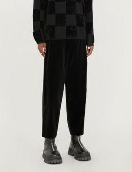 Side Stripe Wide Leg Velvet Trousers by Comme Des Garcons Homme Plus