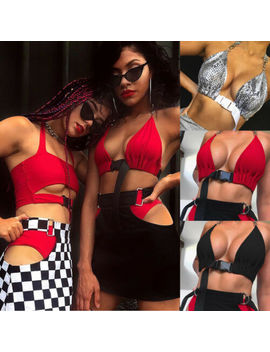 Newest Women Sleeveless Strappy Tank Top Crop Tops Halter Red Black Sliver Summer Cami Bustier Vest Bra by Ali Express.Com