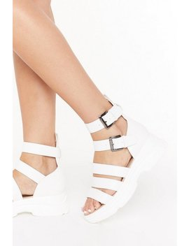 Mind The Gap Strappy Faux Leather Sandals by Nasty Gal