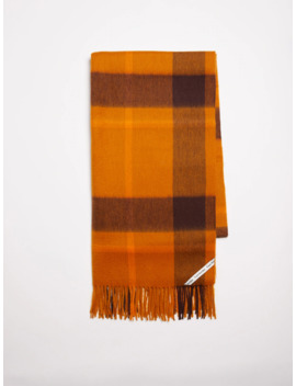 Plaid Blanket Scarf In Honey Ginger by Frank & Oak