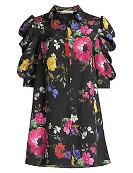 Jem Floral Puff Sleeve Mini Shirtdress by Alice + Olivia