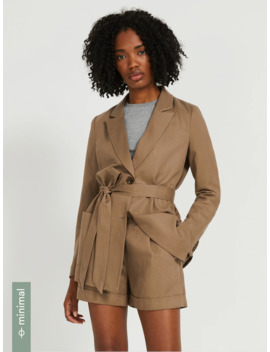 Linen Tencel®  Belted Long Blazer In Bark by Frank & Oak