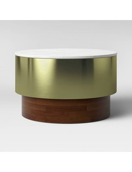 Toluca Marble And Brass Coffee Table Gold   Project 62™ by Project 62