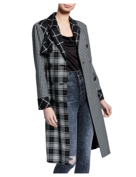Timpson Pleated Back Patchwork Trench Coat by Alice + Olivia