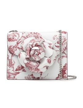 Appliquéd Floral Print Textured Leather Shoulder Bag by Oscar De La Renta