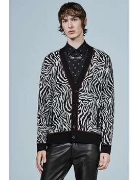 Zebra Print Jacquard Cardigan by Zara