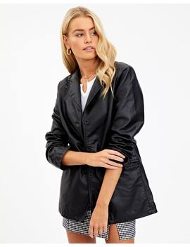 Leather Look Longline Blazer by Glassons