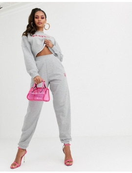 Missguided – Playboy – Kombiteil – Schlanke, Graue  Jogginghose by Asos