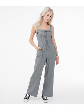Houndstooth Lace Up Jumpsuit by Aeropostale