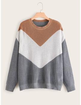SheinPlus Cut And Sew Drop Shoulder Sweater by Sheinside
