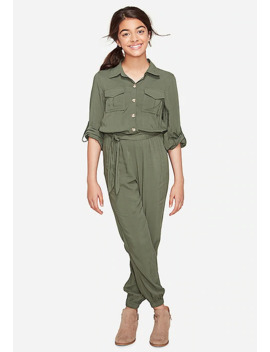 Olive Button Up Jumpsuit Perforated Buckle Bootie by Justice