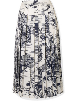 Pleated Printed Satin Midi Skirt by Victoria, Victoria Beckham