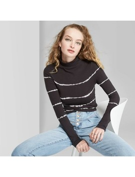 Women's Long Sleeve Turtleneck Cropped T Shirt   Wild Fable™ Black/White by Wild Fable