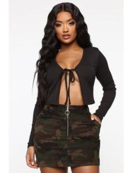 Keep Them Tied Top   Black by Fashion Nova