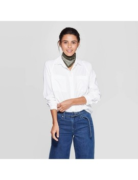 Women's Long Sleeve Boyfriend Shirt   Universal Thread™ White by Universal Thread