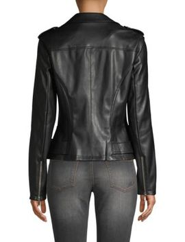 Lace Up Faux Leather Jacket by Karl Lagerfeld Paris