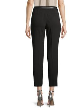 Faux Leather Trimmed Cropped Pants by Karl Lagerfeld Paris