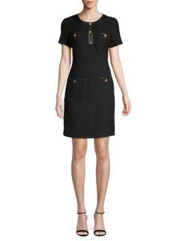 Cotton Blend Mini Sheath Dress by Karl Lagerfeld Paris