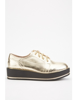 Metallic Mock Croc Platform Shoes by Everything5 Pounds