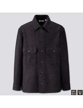 Men Uniqlo U Fleece Long Sleeve Shirt Jacket by Uniqlo
