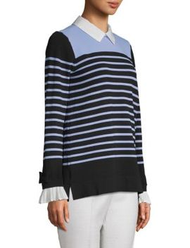 Striped Ribbed Sweater by Karl Lagerfeld Paris