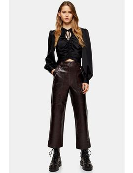 Burgundy Faux Leather Crocodile Straight Leg Trousers by Topshop