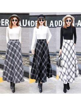 Juuri   Maxi A Line Plaid Skirt by Juuri