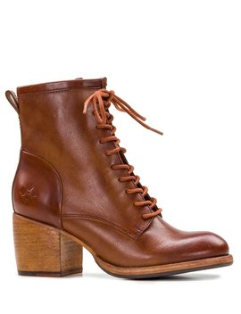 Sicily Leather Block Heel Combat Boots by Patricia Nash