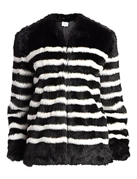 Jerry Stripe Faux Fur Coat by Frame