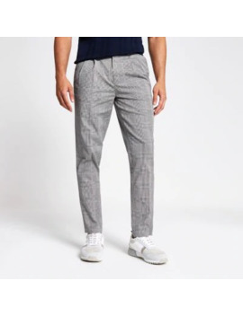Grey Check Tapered Trouser by River Island