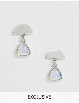Glamorous Exclusive Silver Moonstone Drop Earrings by Glamorous