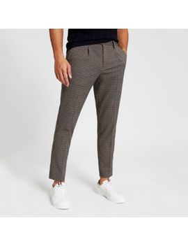 Brown Check Skinny Pleated Smart Trousers by River Island