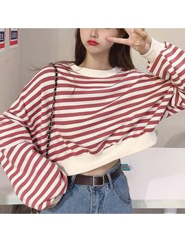 Magimomo   Round Neck Cropped Striped Pullover by Magimomo