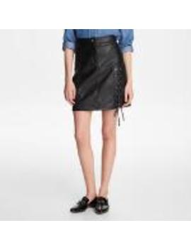 Lace Up Faux Leather Skirt by Karl Lagerfeld
