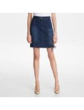 Lace Up Denim Skirt by Karl Lagerfeld