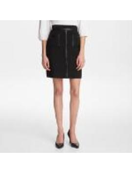 Skirt With Faux Leather Trim by Karl Lagerfeld