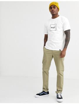 Huf Essentials Box Logo T Shirt In White by Huf