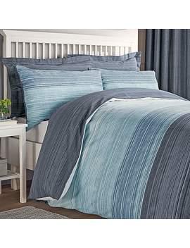 Halton Blue Reversible Duvet Cover And Pillowcase Set by Dunelm