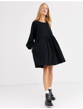Monki Mini Smock Dress In Black by Monki
