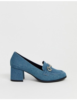 Asos Design Stirrup Mid Heeled Loafers In Denim by Asos Design