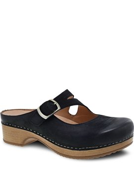 Britney Burnished Leather Mary Jane Block Heel Clogs by Dansko
