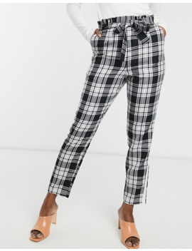 Asos Design Check Side Stripe Tie Waist Trousers by Asos Design