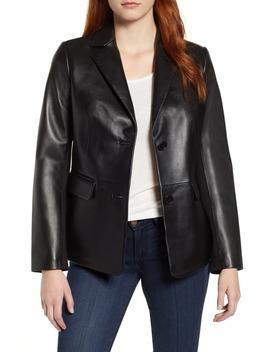 Updated Leather Blazer by Via Spiga