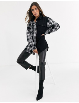 Missguided Oversized Denim Shirt With Mixed Check Print by Missguided's