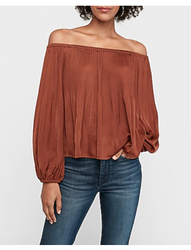 Pleated Satin Off The Shoulder Balloon Sleeve Top by Express